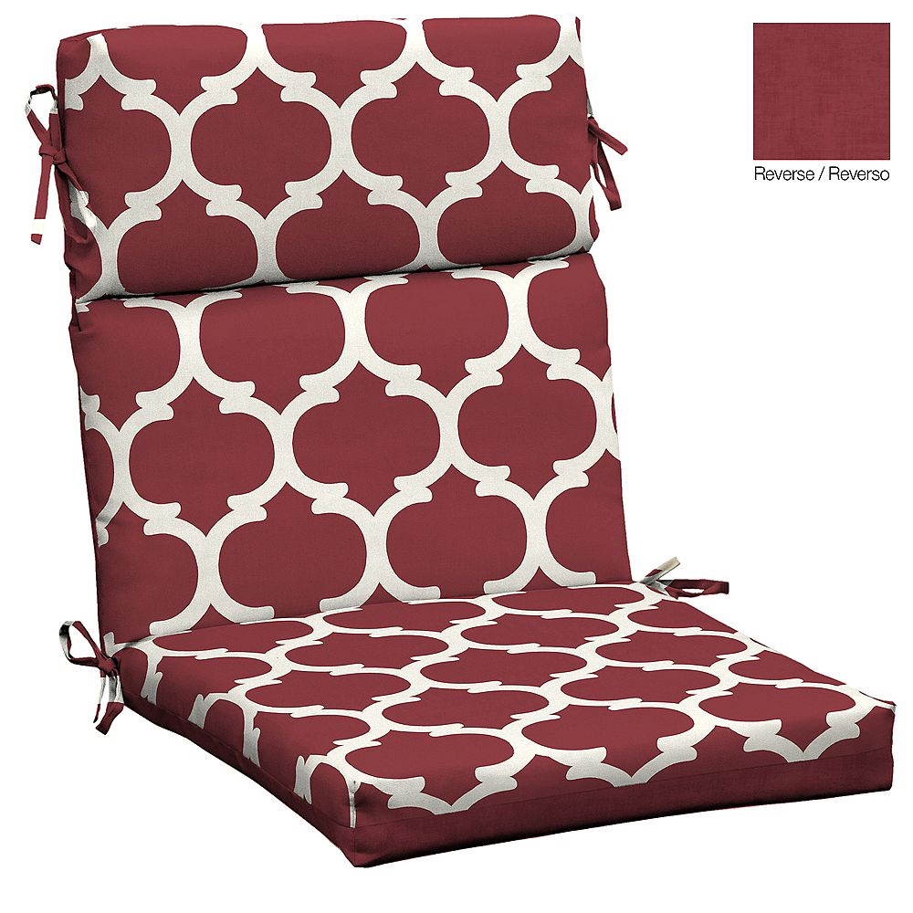 Hampton Bay High Back Outdoor Dining Chair Cushion with Red Frida Trellis