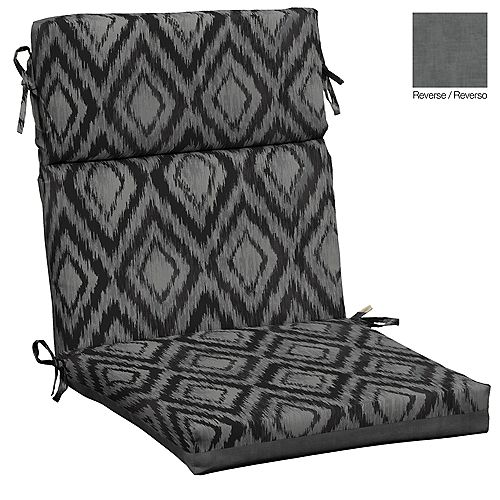High Back Outdoor Dining Chair Cushion in Jackson Ikat Diamond
