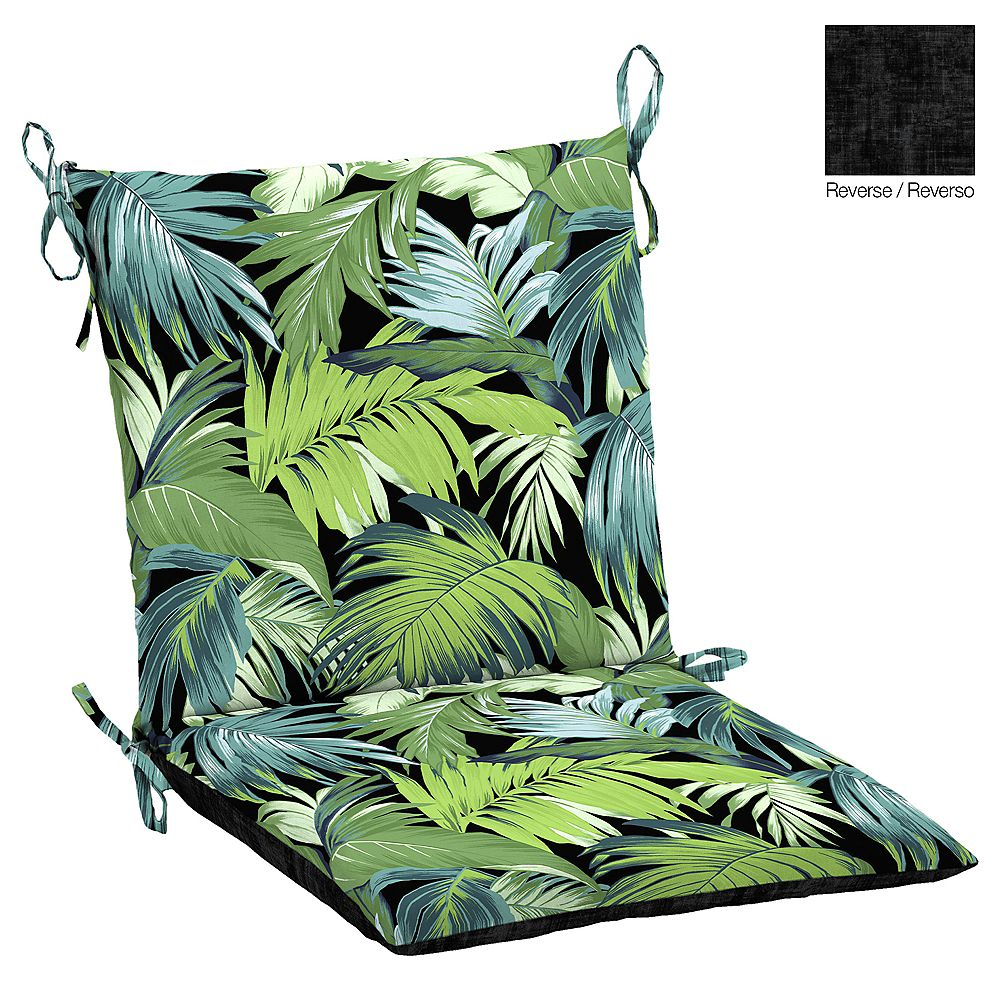 Hampton Bay Outdoor Dining Chair Cushion in Black Tropicalia