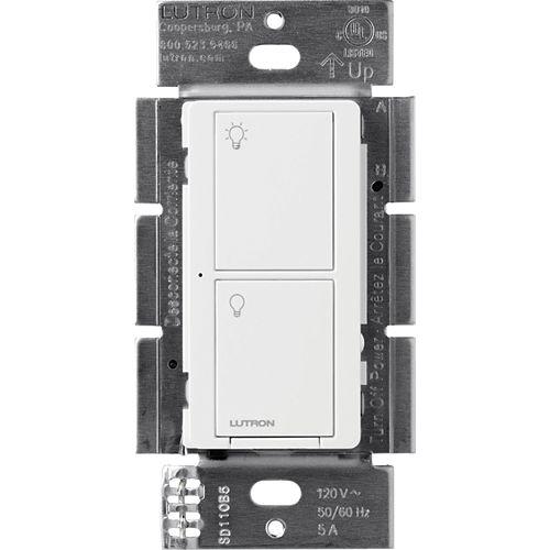 Interrupteur intelligent Caseta pour tous les types d'ampoules et tous les ventilateurs, blanc