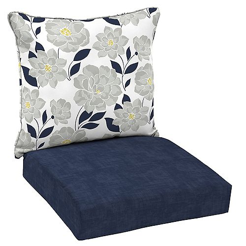Patio Deep Seating or Outdoor Dining Chair Cushion in Blue Floral - (2-Piece)