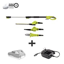 24V Cordless Electric Lawn Care System Hedge Trimmer, Pole Saw, and Leaf Blower Kit with 2.0 Ah Battery + Charger