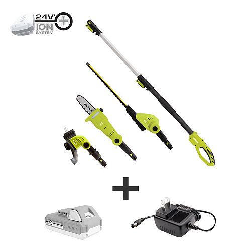 24V Cordless Electric Lawn Care System Hedge Trimmer, Pole Saw and Grass Trimmer Kit with 2.0 Ah Battery + Charger