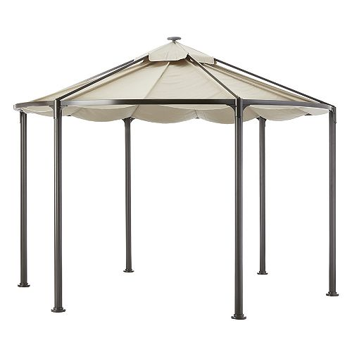 Hampton Bay Kensington 11.8 Feet Diameter Gazebo With Solar Lamp Panel In Café