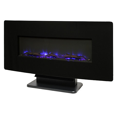 36-inch Glass Curved Front Wall-Mount Electric Fireplace in Black