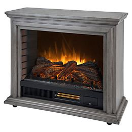Sheridan 32-inch Freestanding Mobile Infrared Electric Fireplace in Dark Weathered Grey