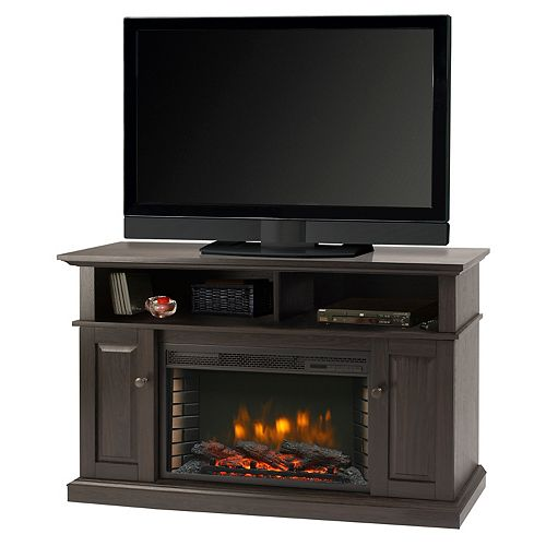 Delaney 48-inch Freestanding Electric Fireplace TV Stand in Rustic Brown