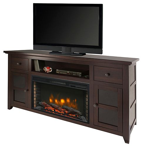 Winchester 56-inch Freestanding Electric Fireplace TV Stand in Dark Walnut