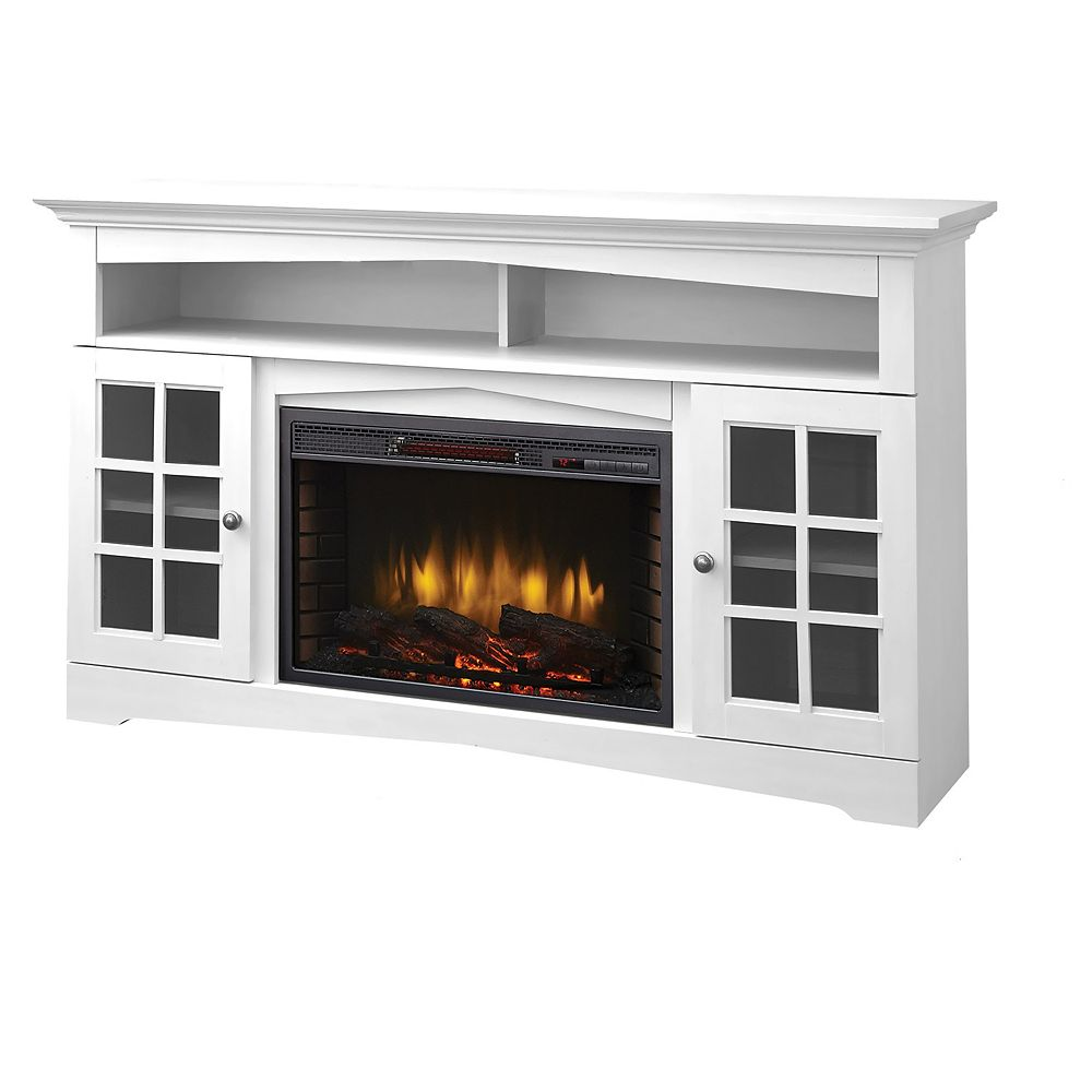Muskoka Huntley 59-inch Electric Fireplace and Media Stand in White