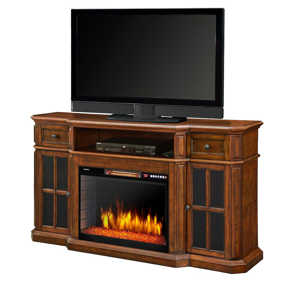 Muskoka Sinclair 60-inch Media Fireplace with LED Lights and Bluetooth in Aged Cherry