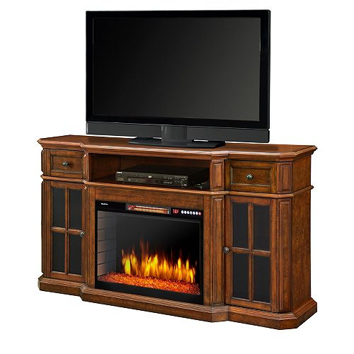 Sinclair 60-inch Media Fireplace with LED Lights and Bluetooth in Aged Cherry