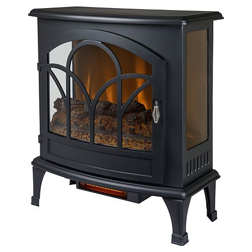 25-inch Freestanding Infrared Curved Front Panoramic Stove with Glass Front in Black
