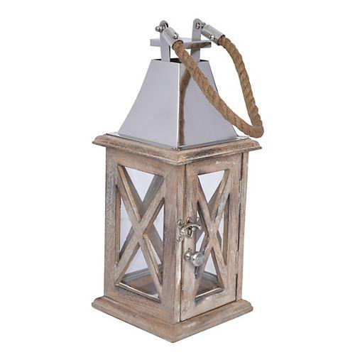 Hampton Bay HB Wooden Lantern Small W/SS Top