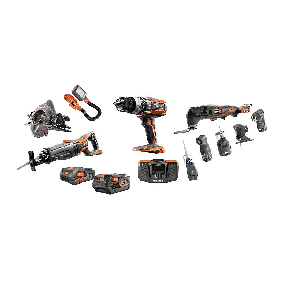 RIDGID 18V GEN5X 12pc Combo Kit with (1) 2.0 AH Battery, (1) 4.0 Ah Battery and Charger