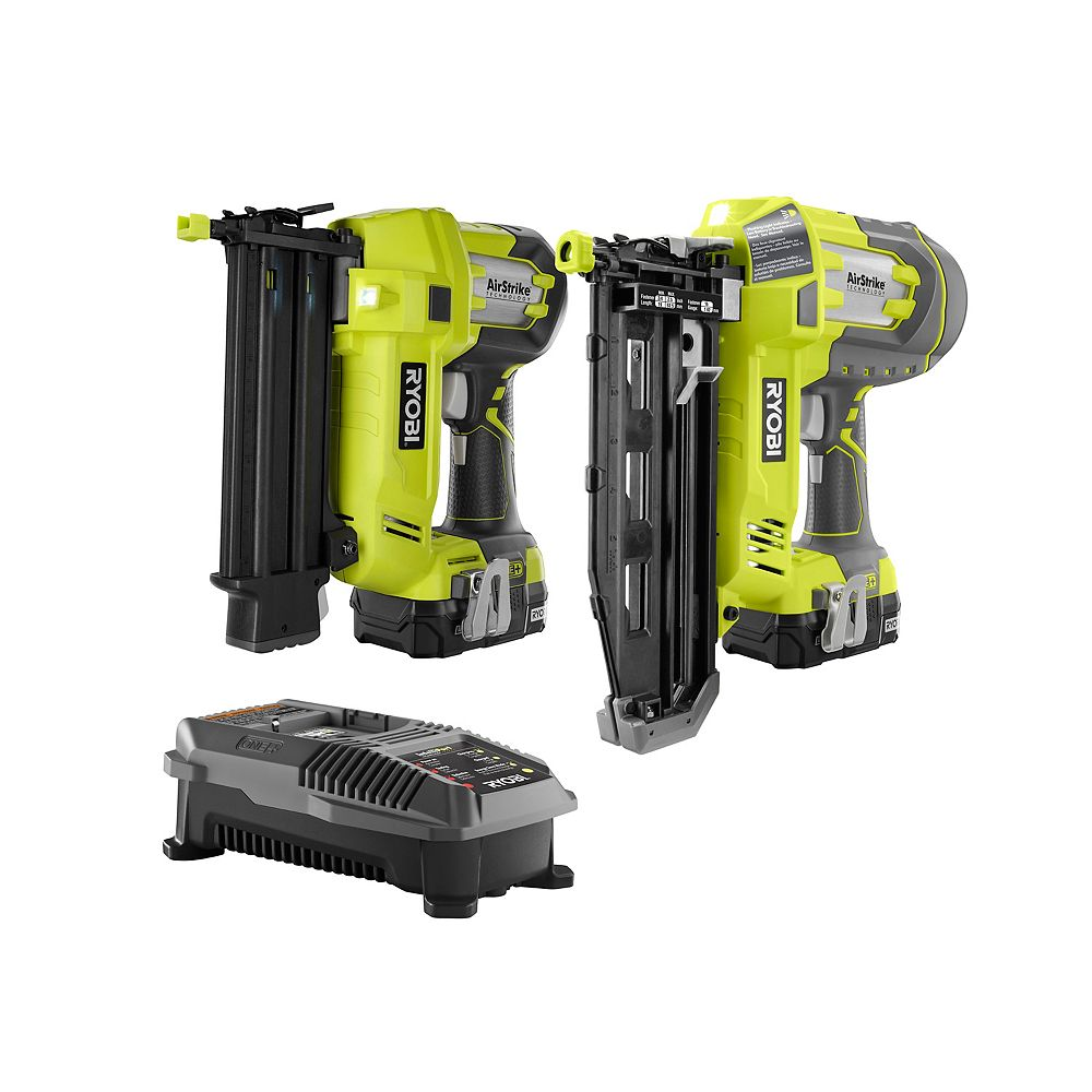 RYOBI 18V ONE+ Li-Ion AirStrike 18-Gauge Brad Nailer et 16-Gauge Straight Nailer Combo Kit (2-Tool)
