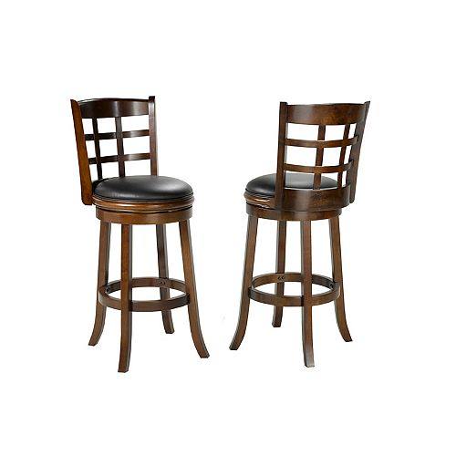 Manchester Manufactured Wood Walnut Low Back Armless Bar Stool with Black Faux Leather Seat (Set of 2)