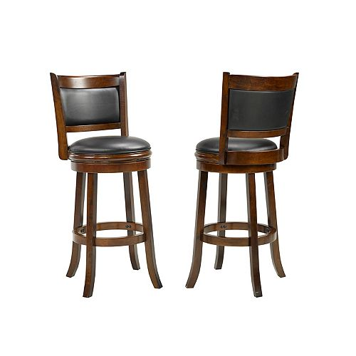 Havanna Manufactured Wood Walnut Low Back Armless Bar Stool with Black Faux Leather Seat - (Set of 2)