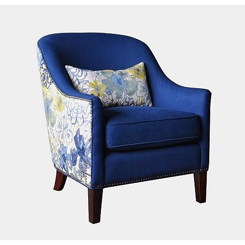 Abhay Contemporary Wingback Polyester/Polyester Blend Accent Chair in Blue with Floral Pattern