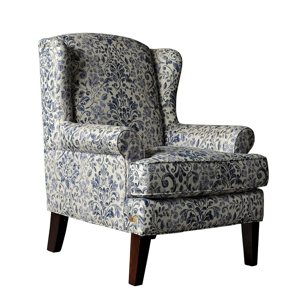 Brassex Inc. Avery Contemporary Wingback Polyester/Polyester Blend Accent Chair in Blue with Floral Pattern