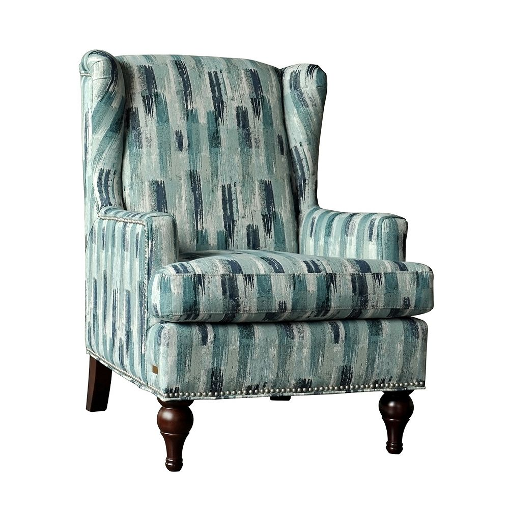 Brassex Inc. Adelle Contemporary Wingback Polyester/Polyester Blend Accent Chair in Blue with Chevron Pattern