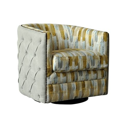 Ackton Contemporary Club Polyester/Polyester Blend Accent Chair in Beige with Chevron Pattern