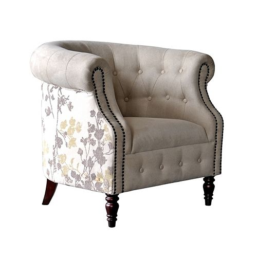 Arianna Contemporary Club Polyester/Polyester Blend Accent Chair in Beige with Floral Pattern