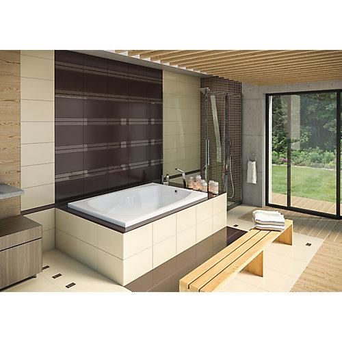 60-inch W x 20-inch H Hudson 5 Drop Acrylic In Bath in White