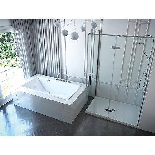 66-inch W x 22-inch H Chaise Acrylic SlimLine Drop In Bath in White