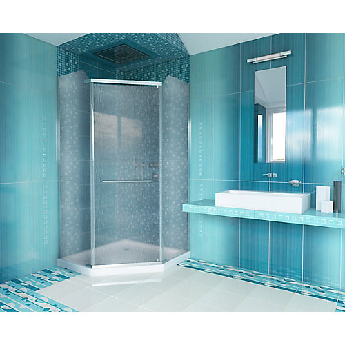 38-inch x 72-inch Semi-Framed Neo-Angle Straight Shower Door in Patterned Glass with Chrome Accents