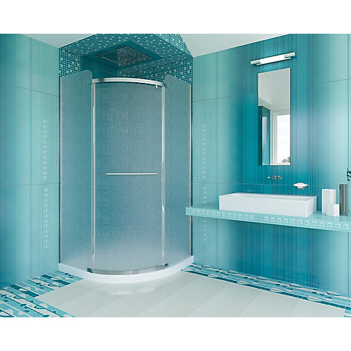 38-inch x 72-inch Semi-Framed Neo-Angle Curved Shower Door in Patterned Glass with Chrome Hardware