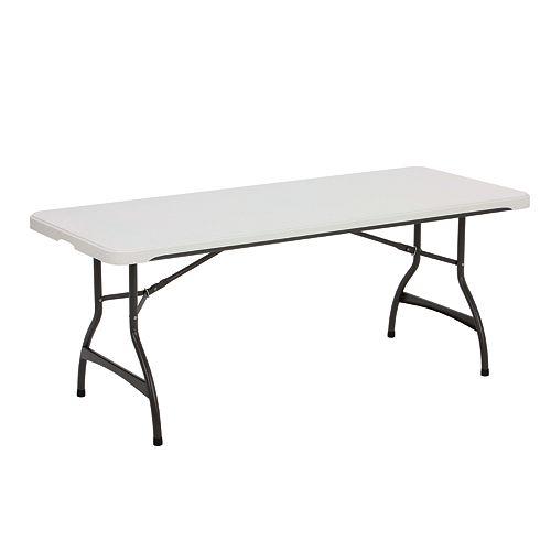 Table gigogne pliante de qualité commerciale de 6 pieds en granit blanc