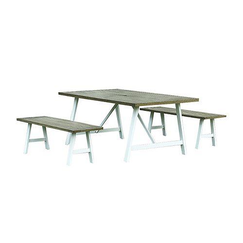 Hampton Bay Ensemble table et bancs Jamieson Park, 3 pièces