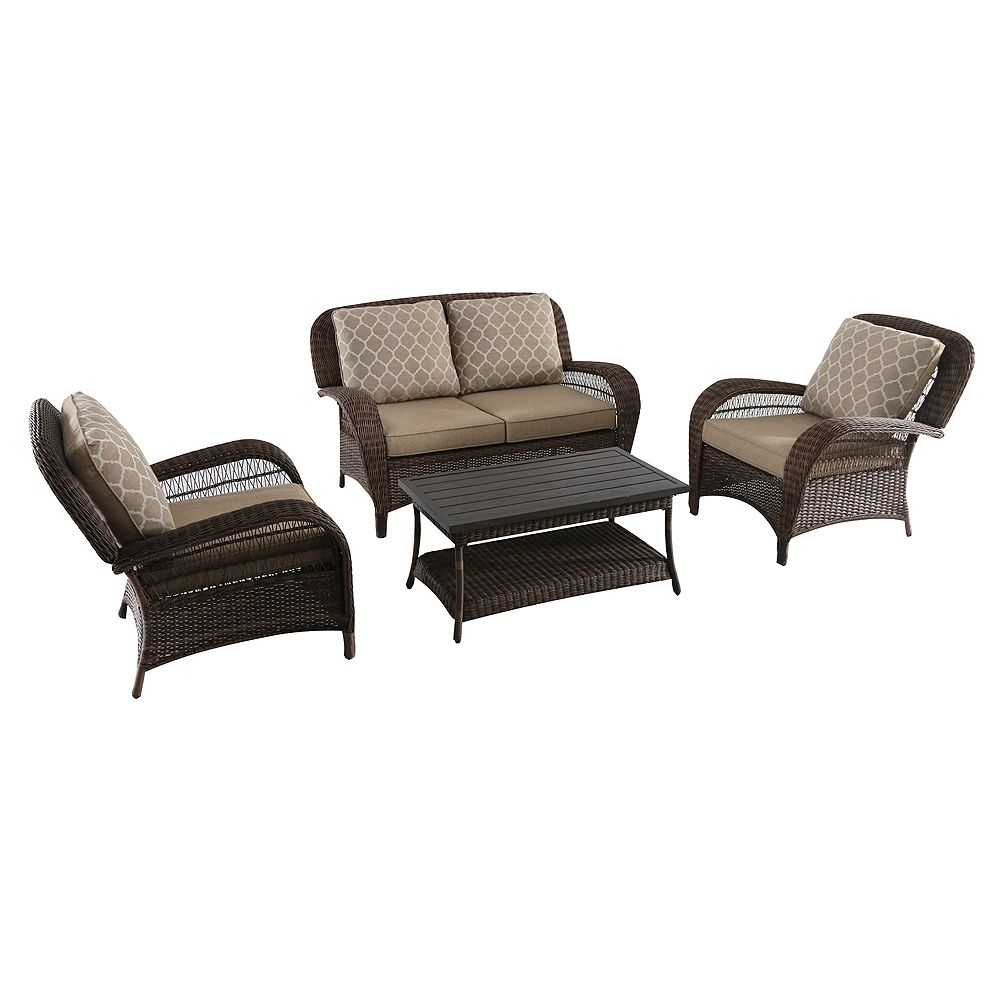 Hampton Bay Beacon Park 4-Piece All-Weather Wicker Patio Conversation Set with Toffee Tan Reversible Cushions