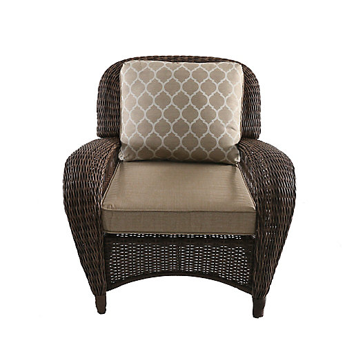 Beacon Park Brown Wicker Outdoor Patio Stationary Lounge Chair with Standard Toffee Tan Cushions