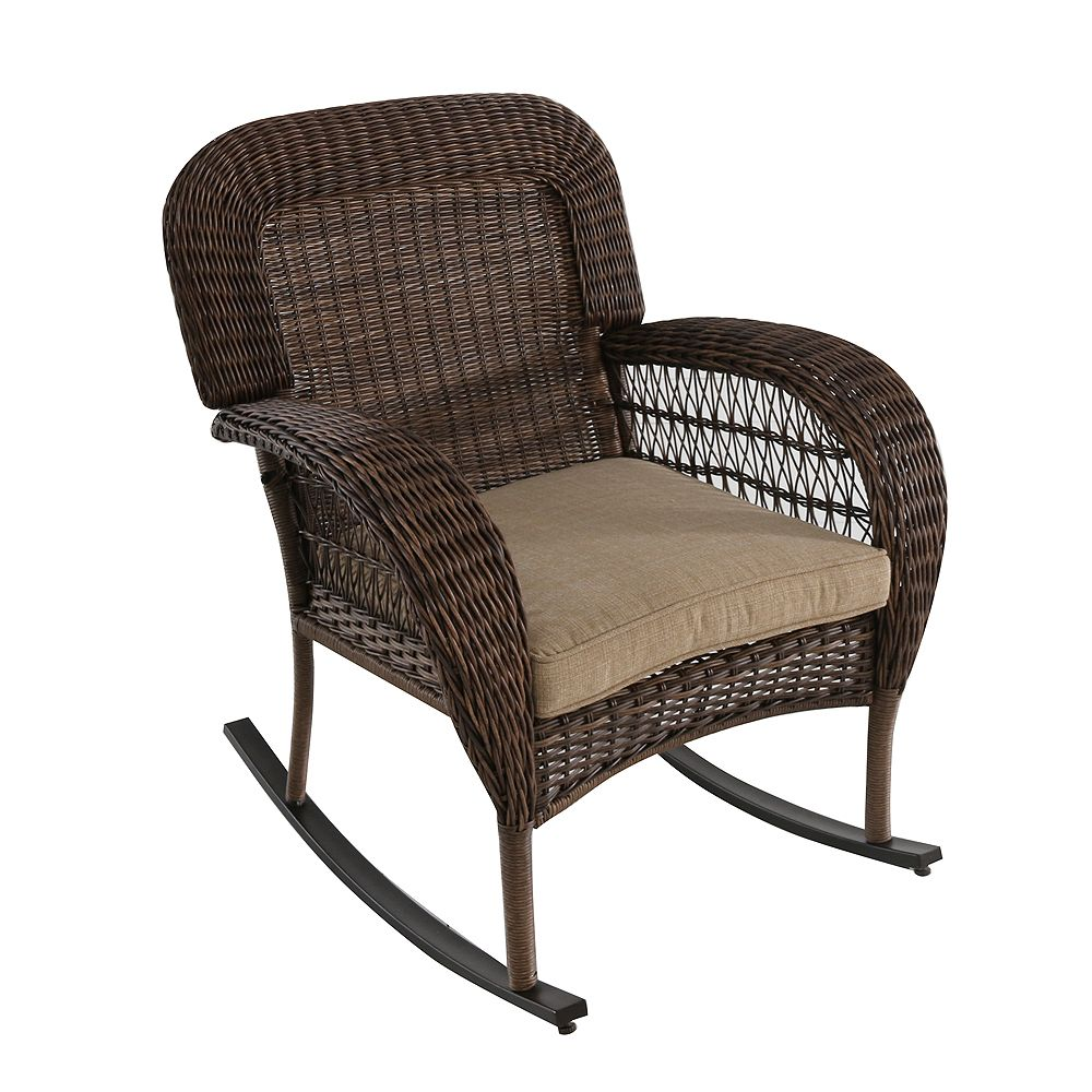 Hampton Bay Beacon Park All-Weather Wicker Rocking Dining Chair with Toffee Tan Cushion