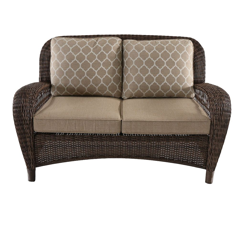 Hampton Bay Beacon Park Brown Wicker Outdoor Patio Loveseat with Standard Toffee Tan Cushions