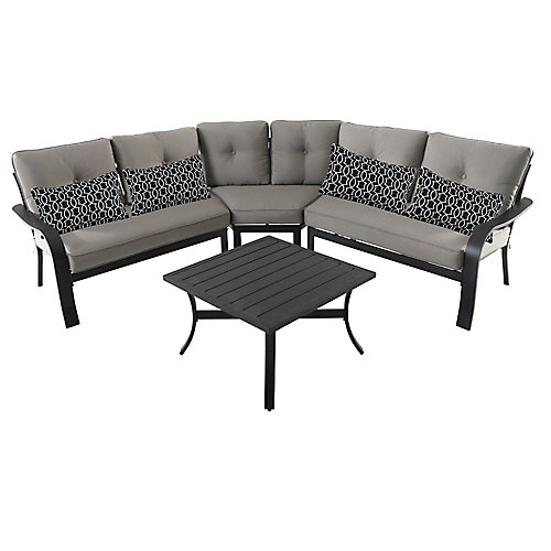 Vestri 4-Piece Patio Sectional Set with Grey Cushions