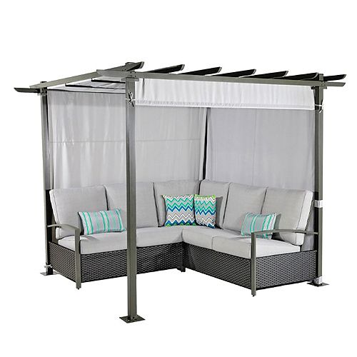 Breeze Cove Patio Sectional Seating Set with Pergola