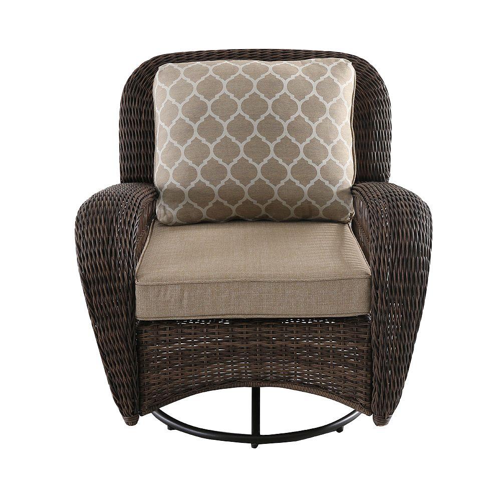 Hampton Bay Beacon Park Brown Wicker Outdoor Patio Swivel Lounge Chair with Standard Toffee Trellis Tan Cushions