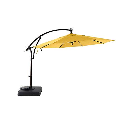 Parasol excentré avec socle à éclairage solaire, 11 pieds, jaune jonquille