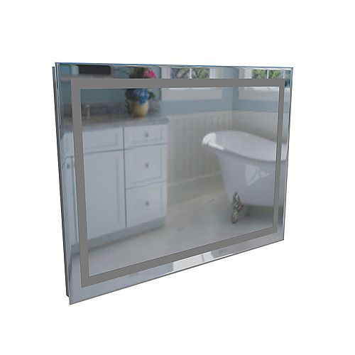 Figure Miroir Éclairé Par Lavabo