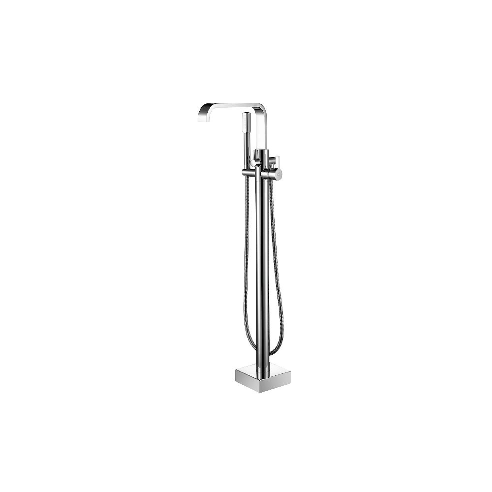 Valley Acrylic SLEEK Collection Floor Mounted Bath Filler; Includes A Handshower &  Flat Square Design