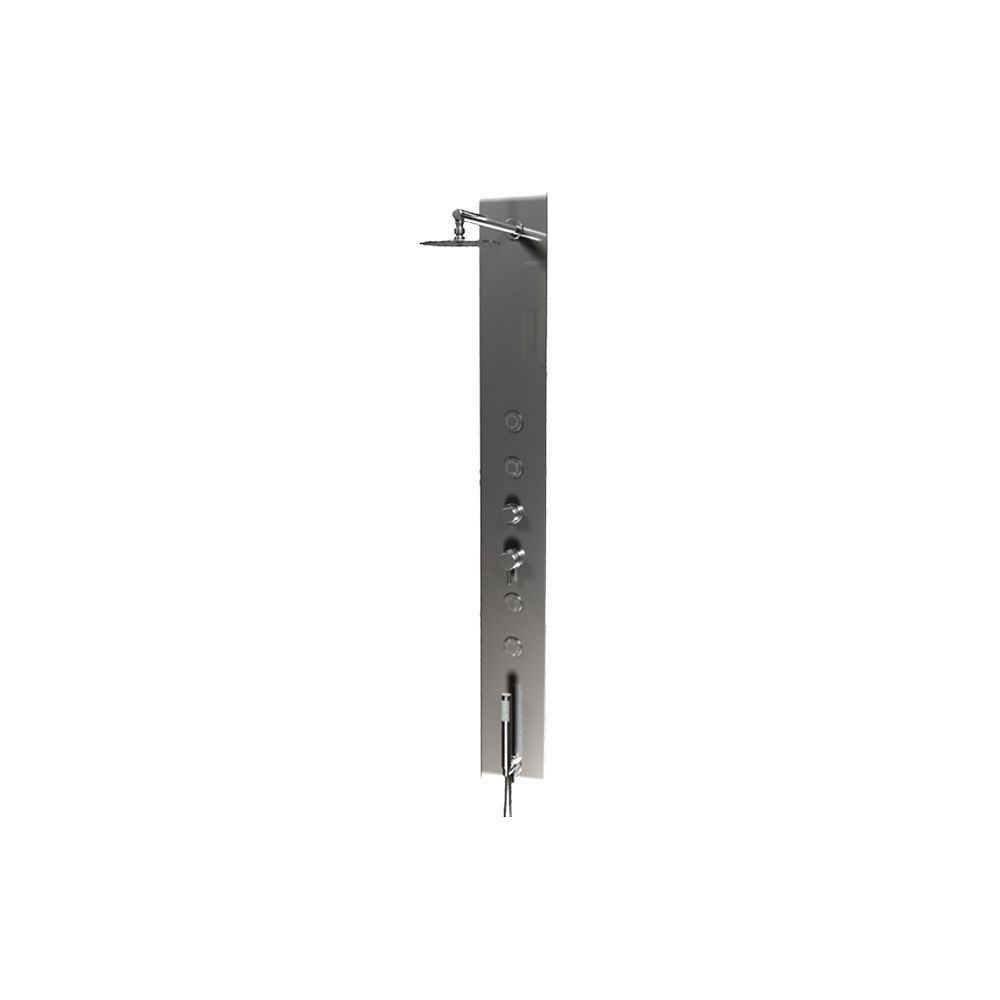 Valley Acrylic Wall-Recessed Polished Stainless Steel Rain Shower Panel; Includes 4 High Power Body Jets & Diverter