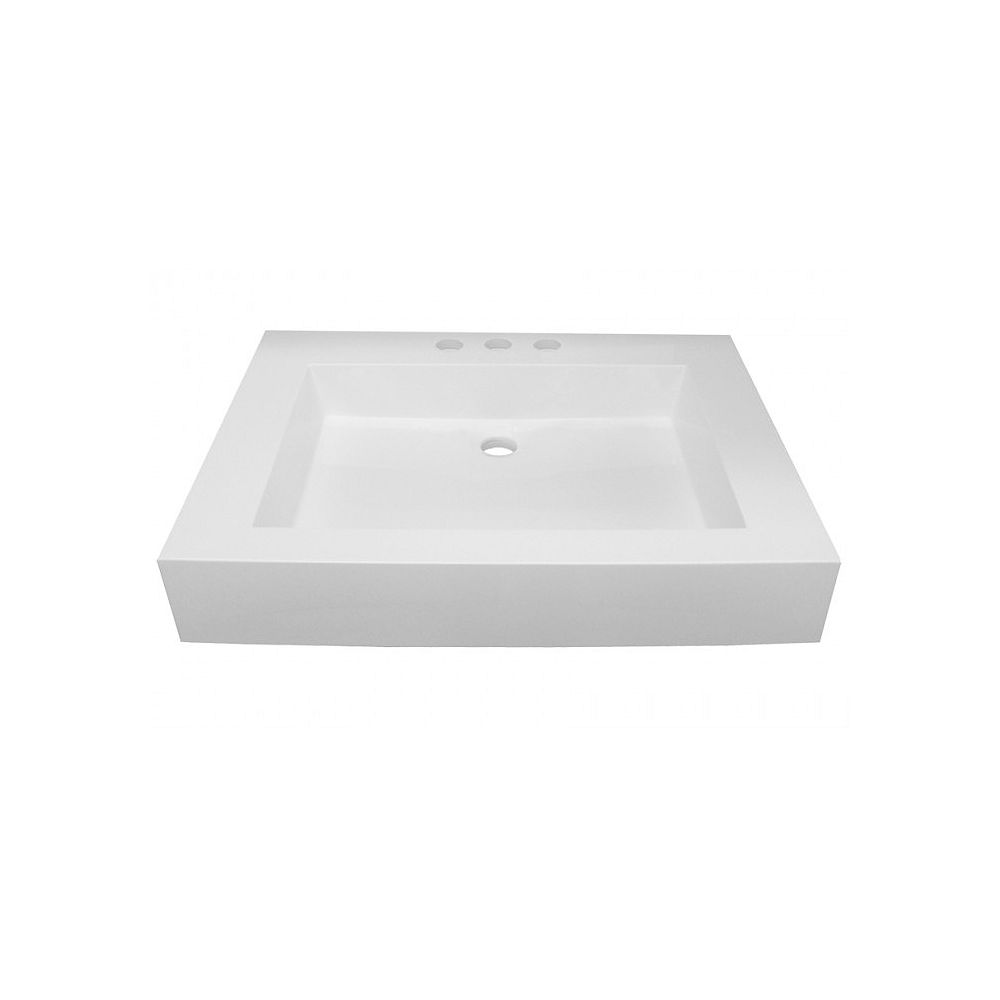 Valley Acrylic The ZANTE 24x19 Inch Lavatory Basin; Canadian & Custom-Made With Ultra-Hygienic Nonporous Shila Stone.