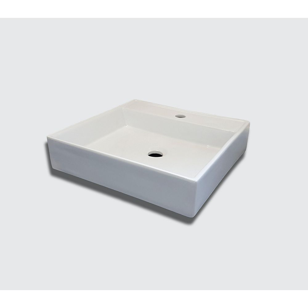 Valley Acrylic The FONTAINE Modern Square Porcelain Lavatory Basin