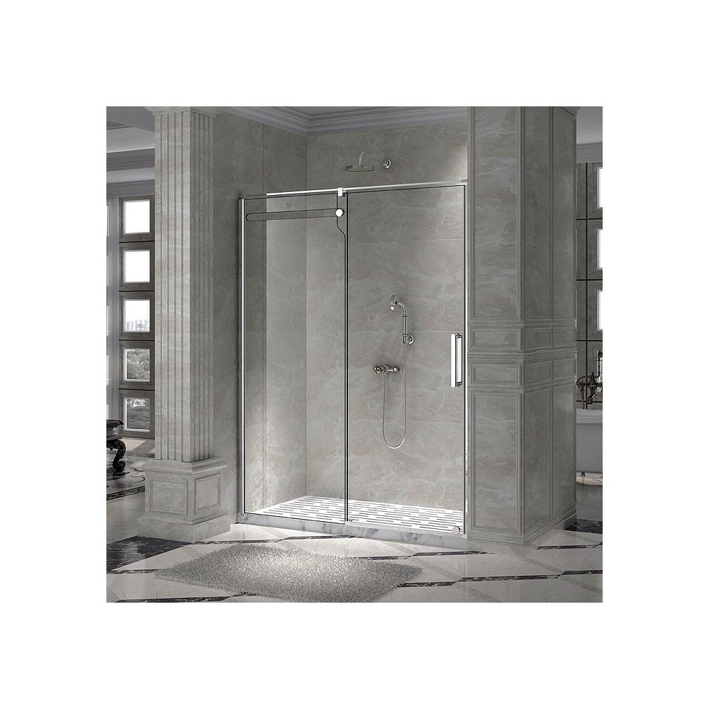 Valley Acrylic 59 Inch Opening, Rolling Shower Door With A Single Clear Tempered Glass Panel