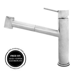 Polished Stainless Steel Kitchen Faucet Features A Dual Pullout Spray Head & Ceramic Cartridge