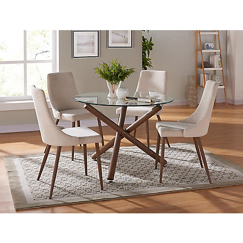 Cora Solid Wood Walnut Parson Armless Dining Chair with Beige Polyester Seat (Set of 2)