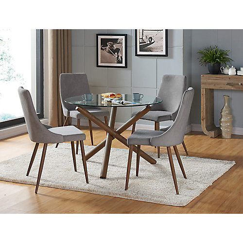 Cora Solid Wood Walnut Parson Armless Dining Chair with Grey Polyester Seat - (Set of 2)