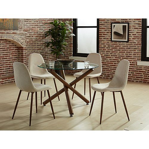 Lyna Solid Wood Walnut Parson Armless Dining Chair with Beige Polyester Seat - (Set of 4)